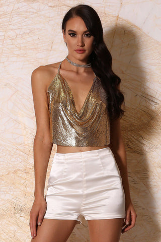 Aurelia Draped Metal Mesh Halter Crop Top - Gold