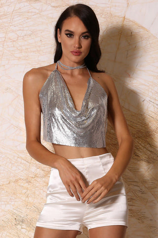 Aurelia Draped Metal Glomesh Halter Crop Top - Silver
