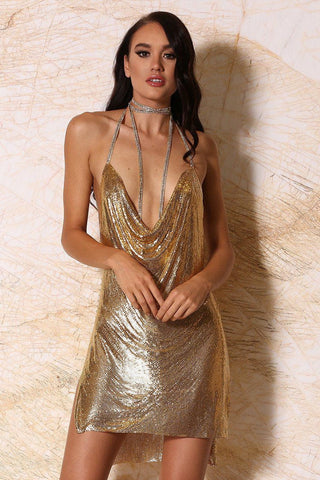 Sabine Draped Metal Mesh Mini Dress - Gold - MESHKI