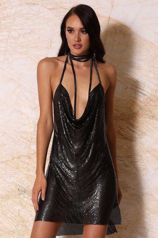 Sabine Draped Metal Mesh Mini Dress - Black - MESHKI