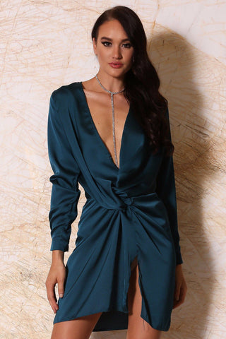 Adara Mini Satin Dress - Teal - MESHKI