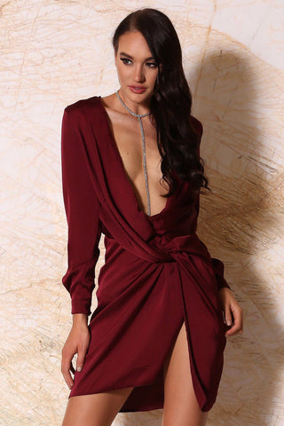 Adara Mini Satin Dress - Burgundy - MESHKI