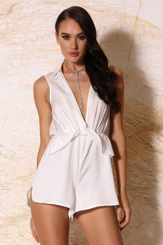 Elmina Collar Playsuit - White - MESHKI