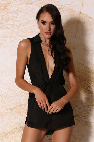 Elmina Collar Playsuit - Black
