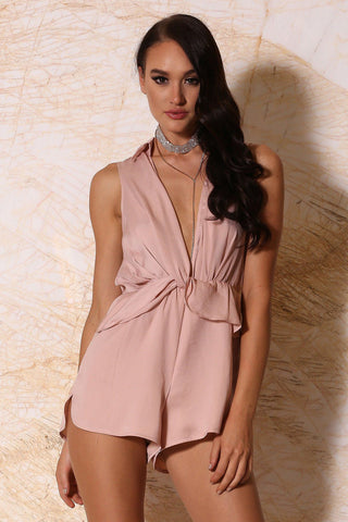 Elmina Collar Playsuit - Blush