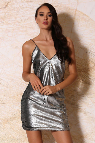 Samara Sequin Mini Dress - Silver - MESHKI