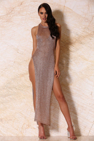 Moreita Metallic High Neck Knit Maxi Dress - Rose Gold