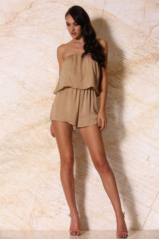 Melaina Strapless Playsuit - Nude