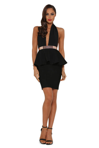 Marilyn Peplum Bandage Dress – Black