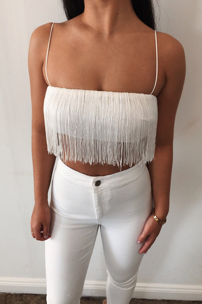 Sofia Fringe Crop Top - White