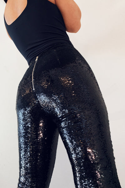 Joanna Sequin Pants - Black - MESHKI