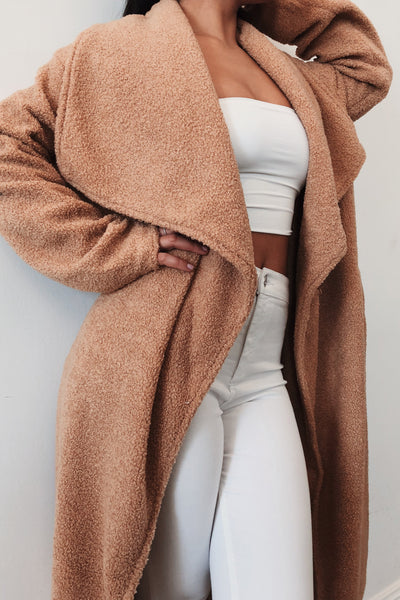 Tessa Teddy Borg Long Waterfall Coat - Camel