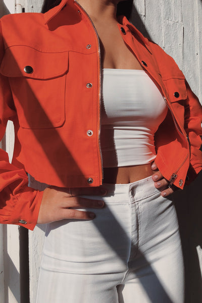 Elani Cropped Cargo Jacket - Orange