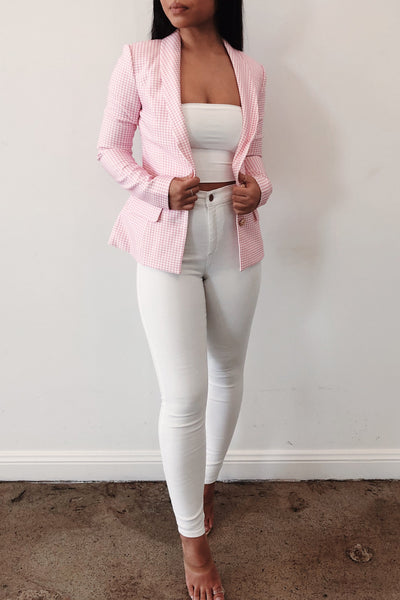 Kelly Gingham Blazer - Pink