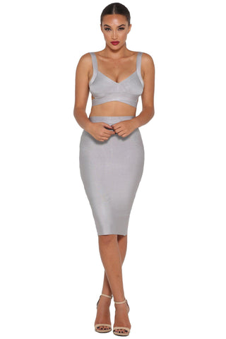 Gia Bandage Midi Skirt – Grey
