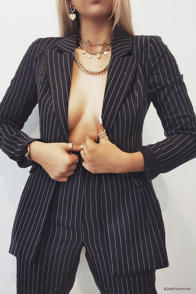 Cameo Double Breasted Long Blazer - Pinstripe
