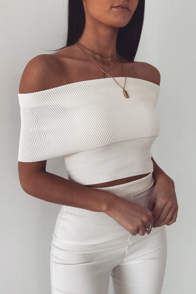 Haley Off-shoulder Top - White - MESHKI