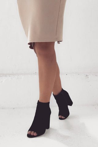 Kassy Peep Toe Block Heel - Black Suede SHOE SAMPLE 10