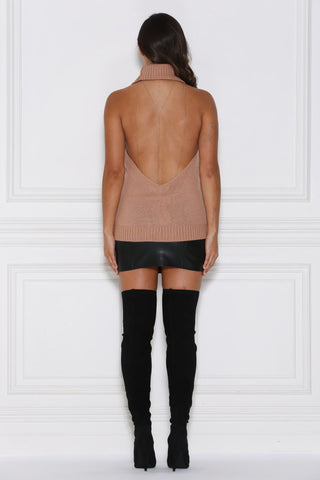 Alana Knitted Backless Halter - Camel