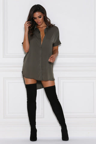 Andrea Satin Shirt Dress/Top - Khaki