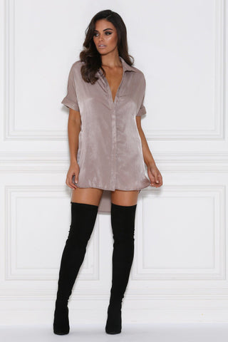 Andrea Satin Shirt Dress - Mocha