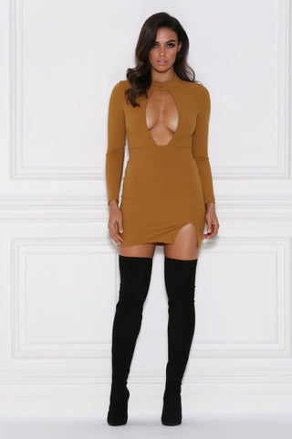 Quinn Keyhole Long Sleeve Mini Dress - Rust