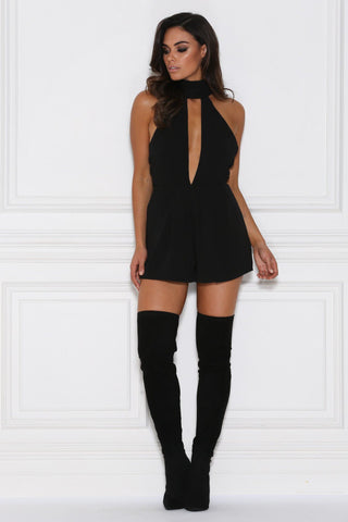 Kyna Keyhole Playsuit - Black