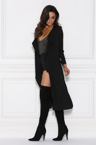Dulce Duster Trench Coat - Black