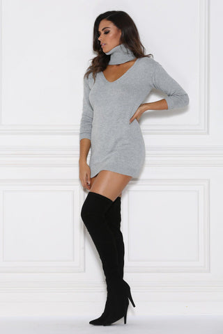Camille Knitted Jumper Dress - Grey