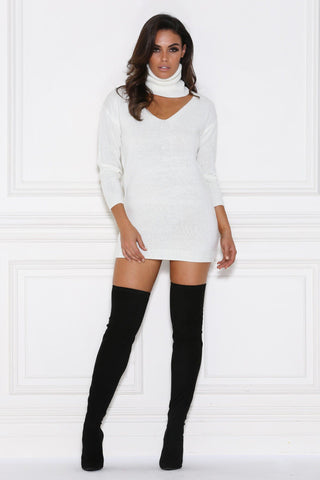 Camille Knitted Jumper Dress - White