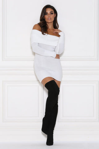 Kayla Off-Shoulder Knitted Jumper Dress - White