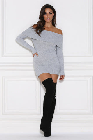 Kayla Off-Shoulder Knitted Jumper Dress - Grey