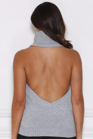 Alana Knitted Backless Halter - Grey