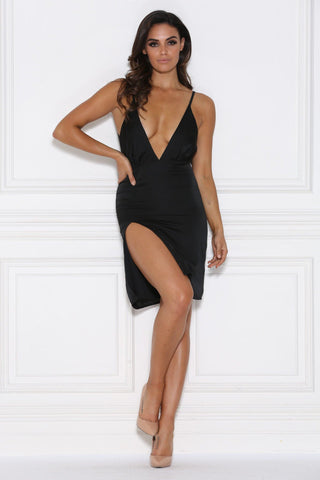 Selena Satin Mini Dress - Black
