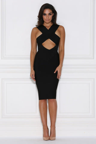 Natalia Bandage Midi Dress - Black