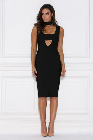 Katalina Bandage Midi Dress - Black