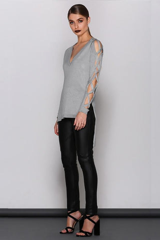 Viola V Neck Knit - Grey