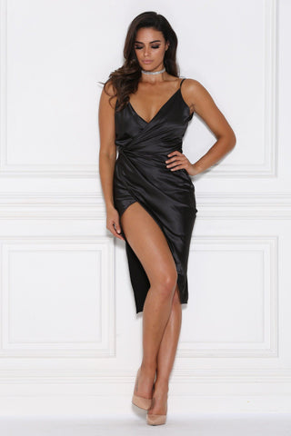 Sasha Satin Wrap Dress - Black - MESHKI