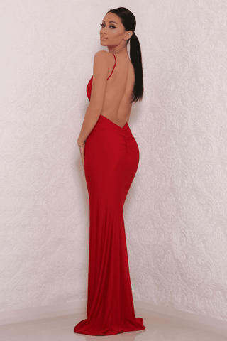 Celine Backless Maxi Dress - Red Slinky - MESHKI