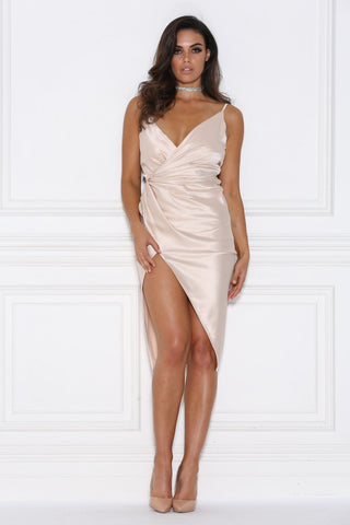 Sasha Satin Wrap Dress - Nude - MESHKI