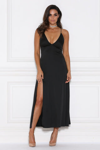 Adelle Satin Maxi Dress - Black - MESHKI
