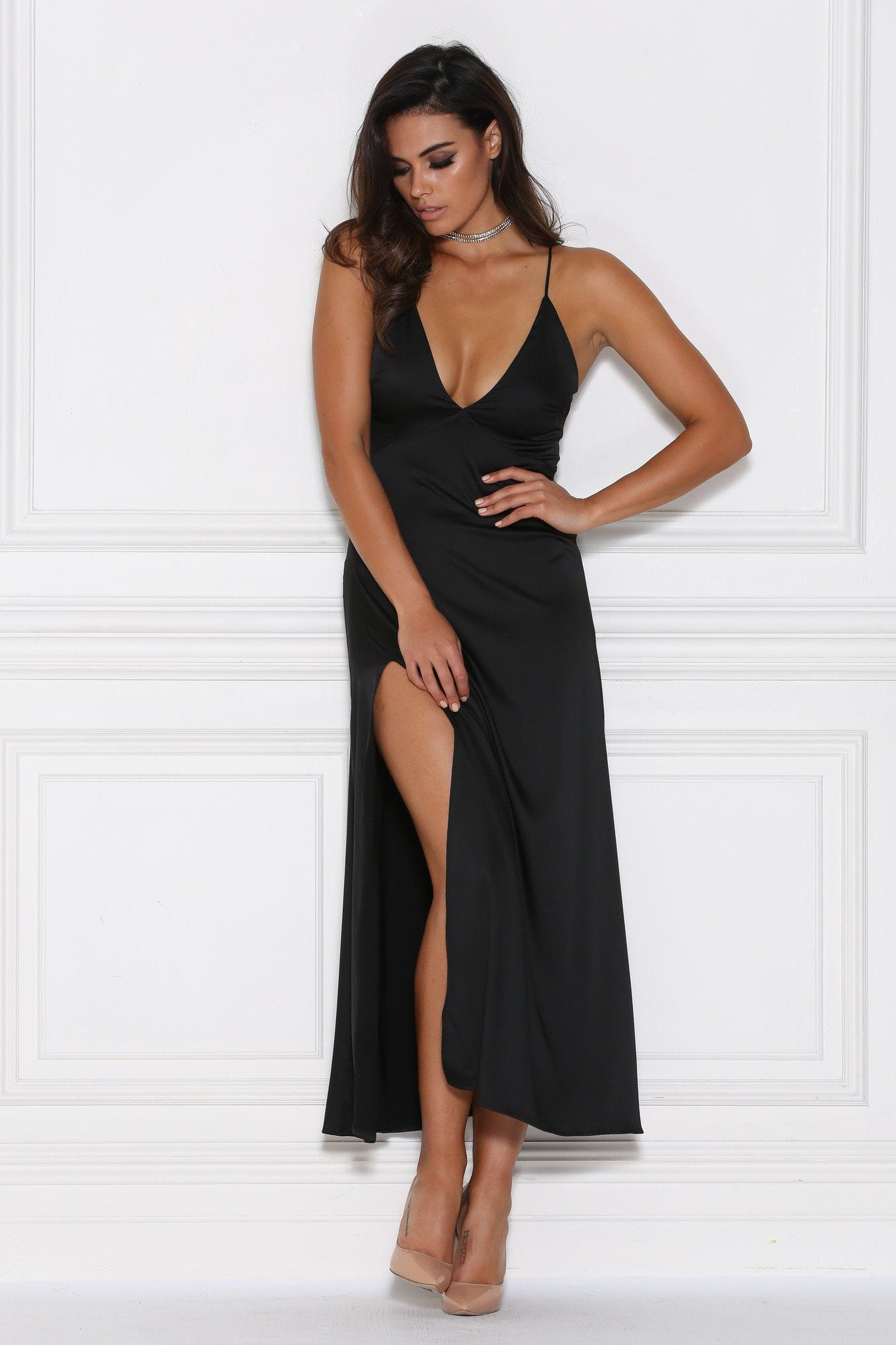 Black Satin Maxi Dresses