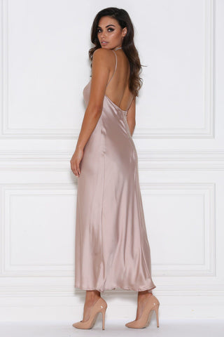 Sophia Satin Maxi Dress - Blush