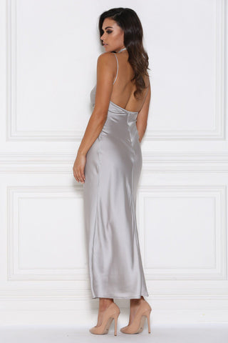 Sophia Satin Maxi Dress - Silver