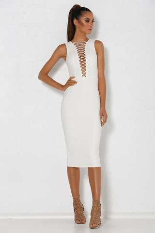 Yvonna Dress - White - MESHKI