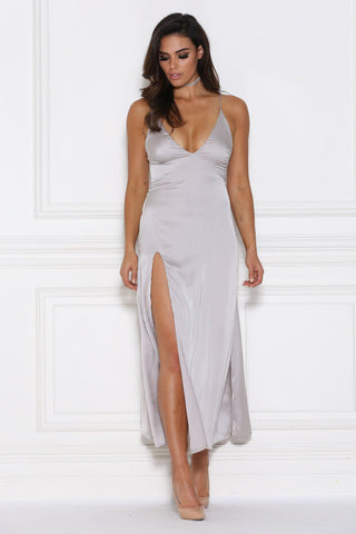 Adelle Satin Maxi Dress - Silver