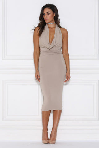 Alessia Drape Midi Dress - Taupe