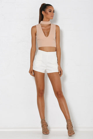 Gigi Choker Crop Top - Nude
