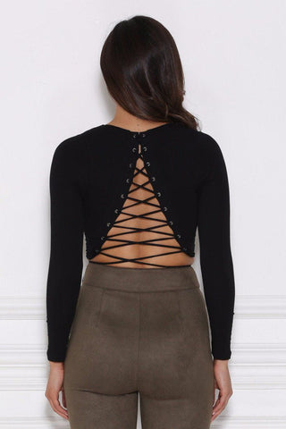 Raven Lace-Up Crop Top - Black