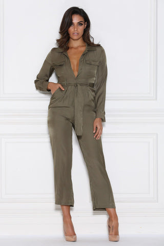 Hilary Satin Jumpsuit - Khaki - MESHKI